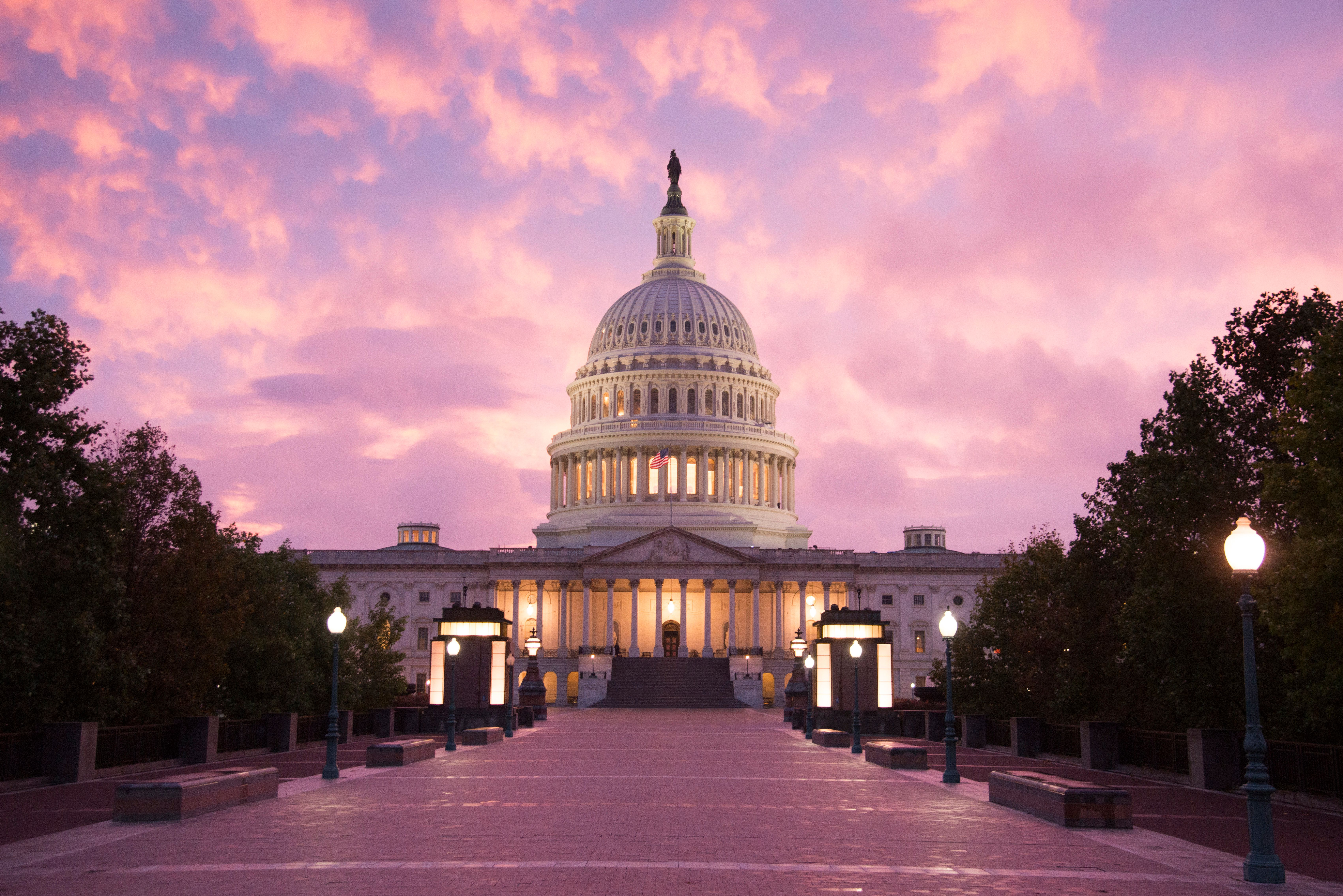 Washington DC: The sun sets on the United States Capitol building.