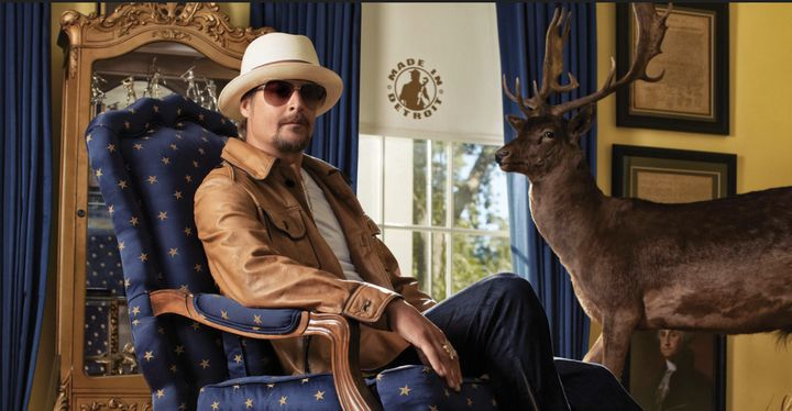 Kid Rock sits on a star-spangled chair in a website promoting his supposed campaign for U.S. Senate. Yep, this is where we're