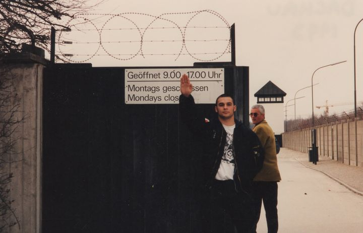 <em>Christian Picciolini at gates of Dachau (Germany, 1992)</em>