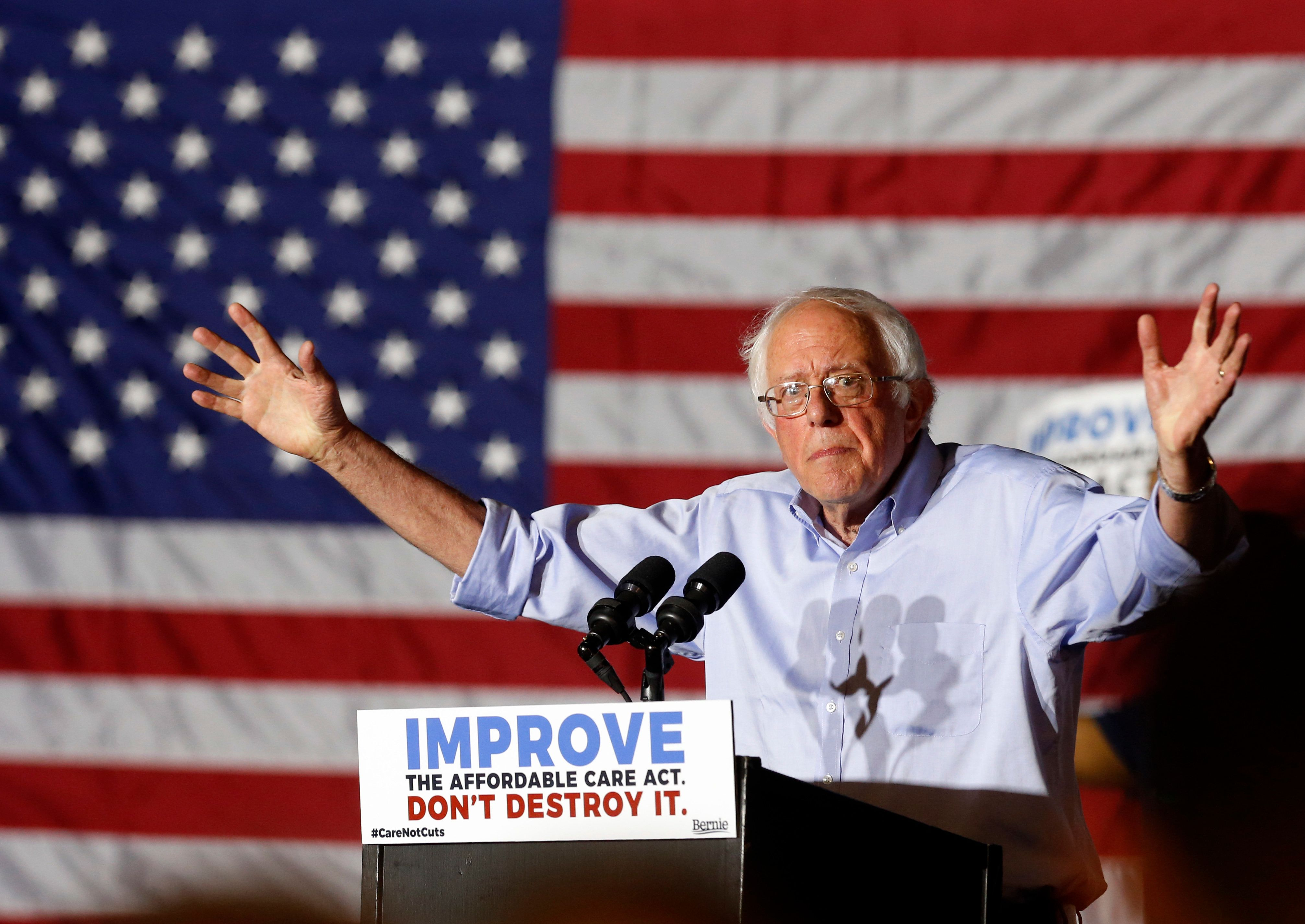 US Senator Bernie Sanders (I-VT) addresses a rally in support of the Affordable Care Act in Covington, Kentucky on July 9, 2017. / AFP PHOTO / Jay LaPrete        (Photo credit should read JAY LAPRETE/AFP/Getty Images)