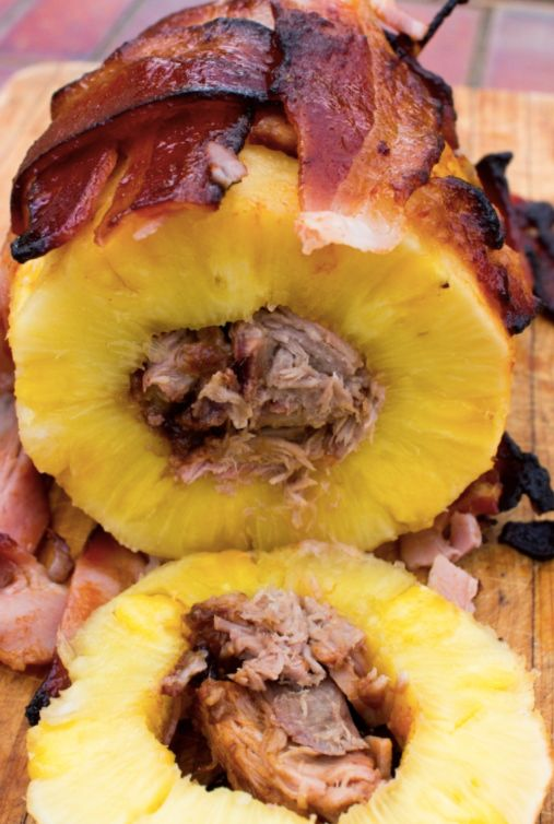A bacon-wrapped pineapple stuffed with pork. Also known as a