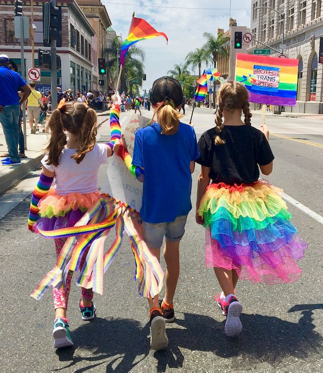 C.J. Duron and his two best girl friends at their city's 2017 Pride
