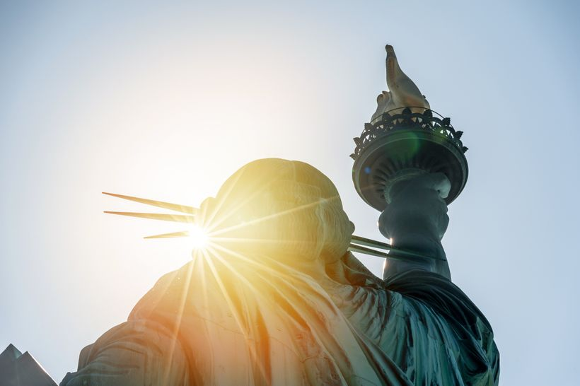 The Statue of Liberty looking east in the morning sun