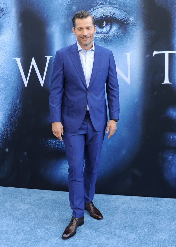 Actor Nikolaj Coster-Waldau looking brilliant in blue.
