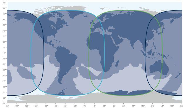 <p>Inmarsat-5 satellite coverage. Dark blue: Pacific Ocean Region (POR); light blue: Atlantic Ocean Region (AOR); and green: Indian Ocean Region (IOR).</p>