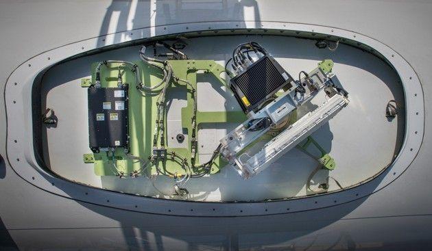 <p>Honeywell aircraft-mounted Jetwave antenna (Honeywell).</p>