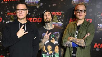INGLEWOOD, CA - DECEMBER 10:  (L-R) Mark Hoppus, Travis Barker and Matt Skiba of the band Blink 182 attend 106.7 KROQ Almost Acoustic Christmas 2016 - Night 1 at The Forum on December 10, 2016 in Inglewood, California.  (Photo by C Flanigan/WireImage)