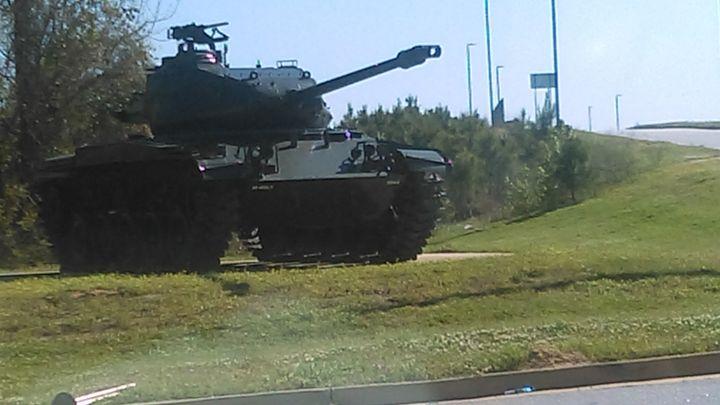 An image of an American tank on display.