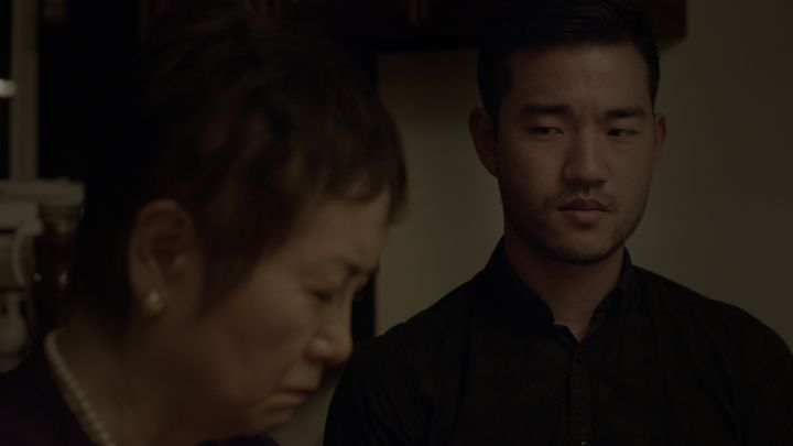 "Alexis Rhee, left, and Daniel K. Isaac in Cathy Yan's ""According to My Mother."""