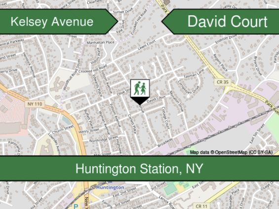 I now know Kelsey Avenue and David Court intersect in Huntington Station, New York. Thank you, Crossing.