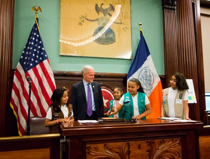 In April, New York City Council Majority Leader Jimmy Van Bramer recognized the troop's accomplishments at a ceremony at New York City Hall.