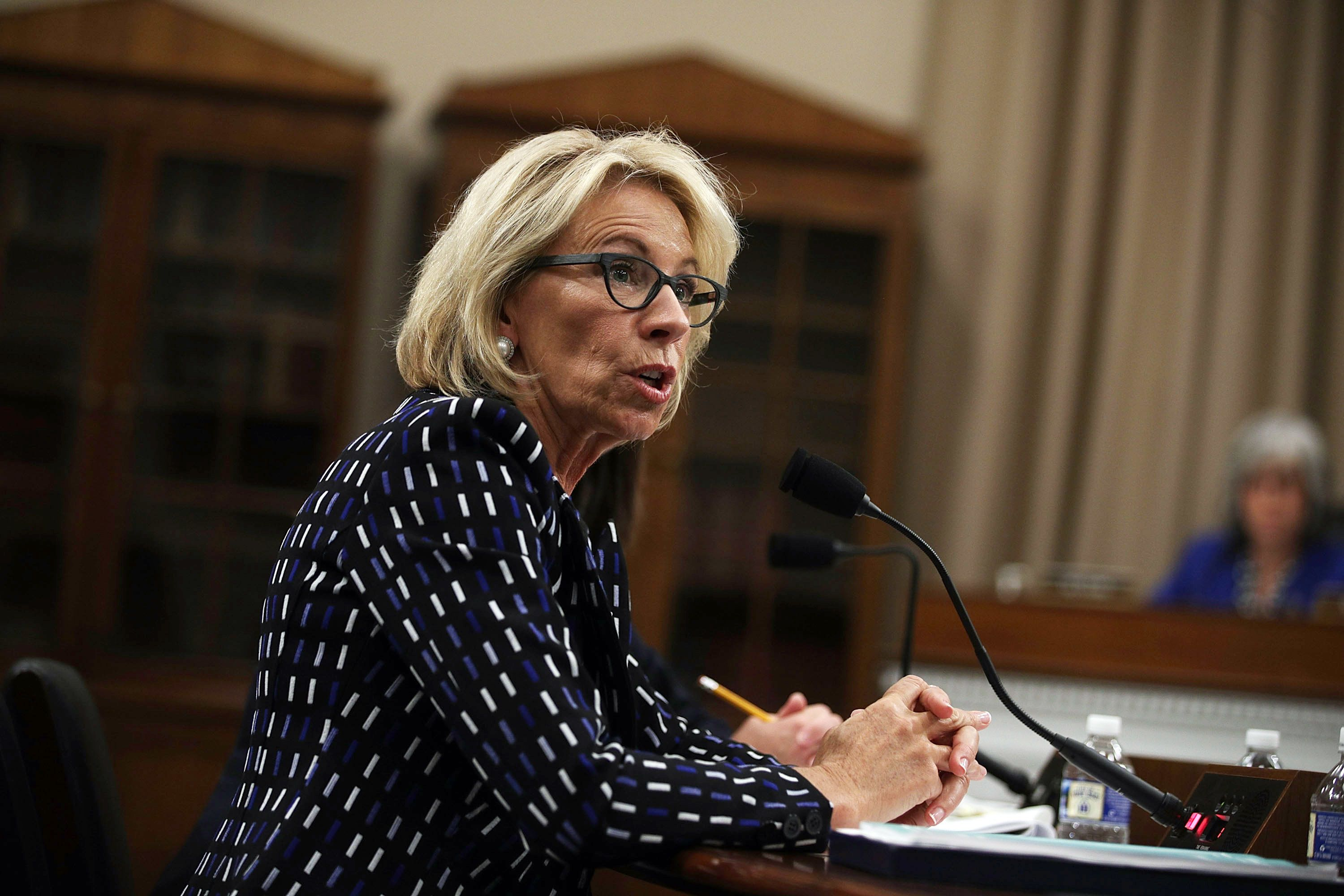WASHINGTON, DC - MAY 24:  U.S. Secretary of Education Betsy DeVos testifies during a hearing before the Labor, Health and Human Services, Education and Related Agencies Subcommittee of the House Appropriations Committee May 24, 2017 on Capitol Hill in Washington, DC. The subcommittee held a hearing on 'Department of Education Budget.'  (Photo by Alex Wong/Getty Images)