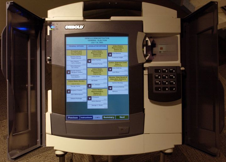 A Diebold electronic voting machine is demonstrated in New York in 2004.