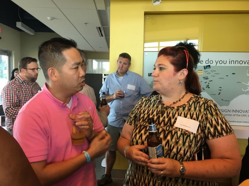 Triad leaders mingling at Venture Café's Thursday Gathering.