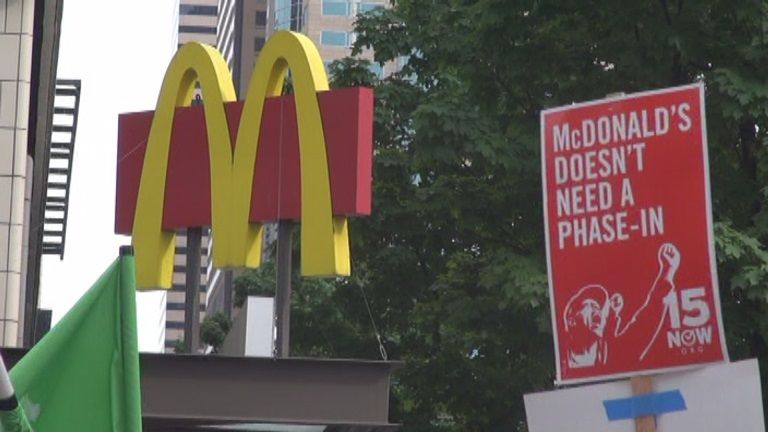 Minimum-wage demonstration in downtown Seattle, 2014