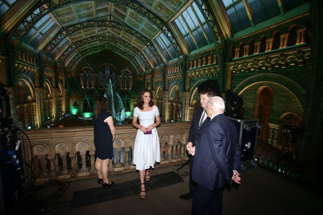 Duchess of Cambridge and David Attenborough are shown a blue whale skeleton by museum director Sir Michael...