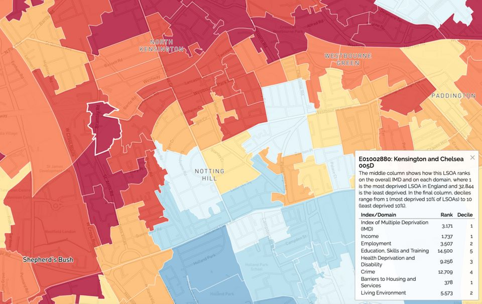 Grenfell Tower was situated in one of the most deprived areas of Kensington and Chelsea (dark red), while...