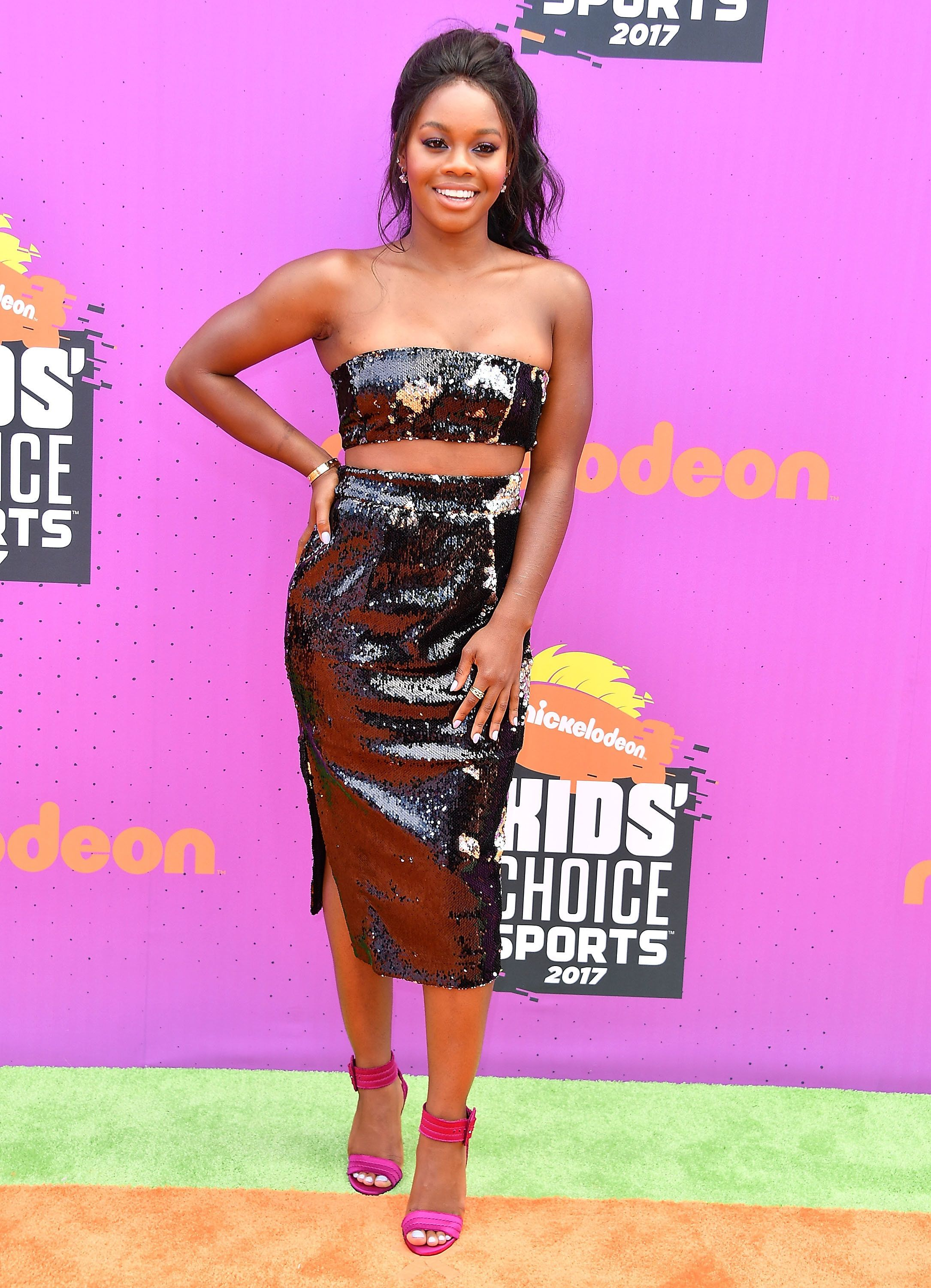 LOS ANGELES, CA - JULY 13:  Gabby Douglas arrives at the Nickelodeon Kids' Choice Sports Awards 2017 at Pauley Pavilion on July 13, 2017 in Los Angeles, California.  (Photo by Steve Granitz/WireImage)