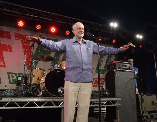 Jeremy Corbyn addresses the crowd from the stage at LeftField at Glastonbury