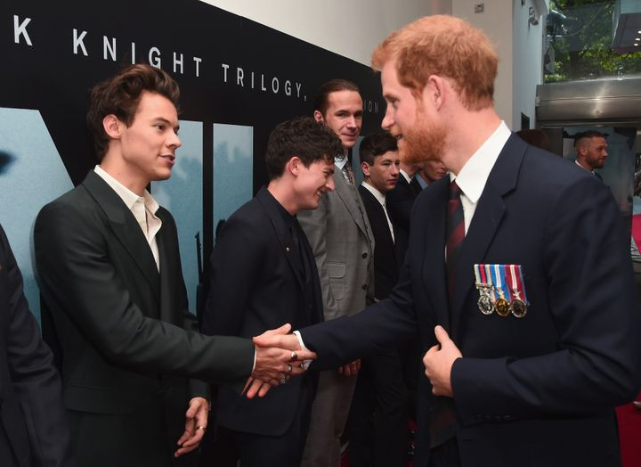 """Harry Styles and Aneurin Barnard and Prince Harry attend the """"Dunkirk"""" world premiere onJuly 13 in London, England."""