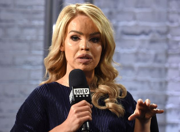 Katie Piper speaking at the Build LDN event at AOL London in
