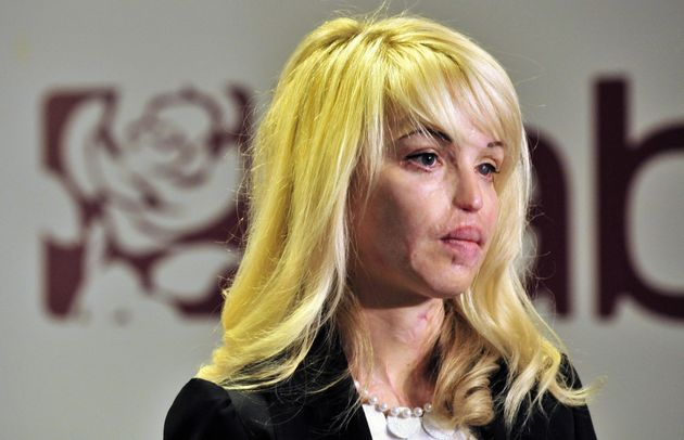 Piper pictured two years after the attack at a press conference for Labour's plans for safer