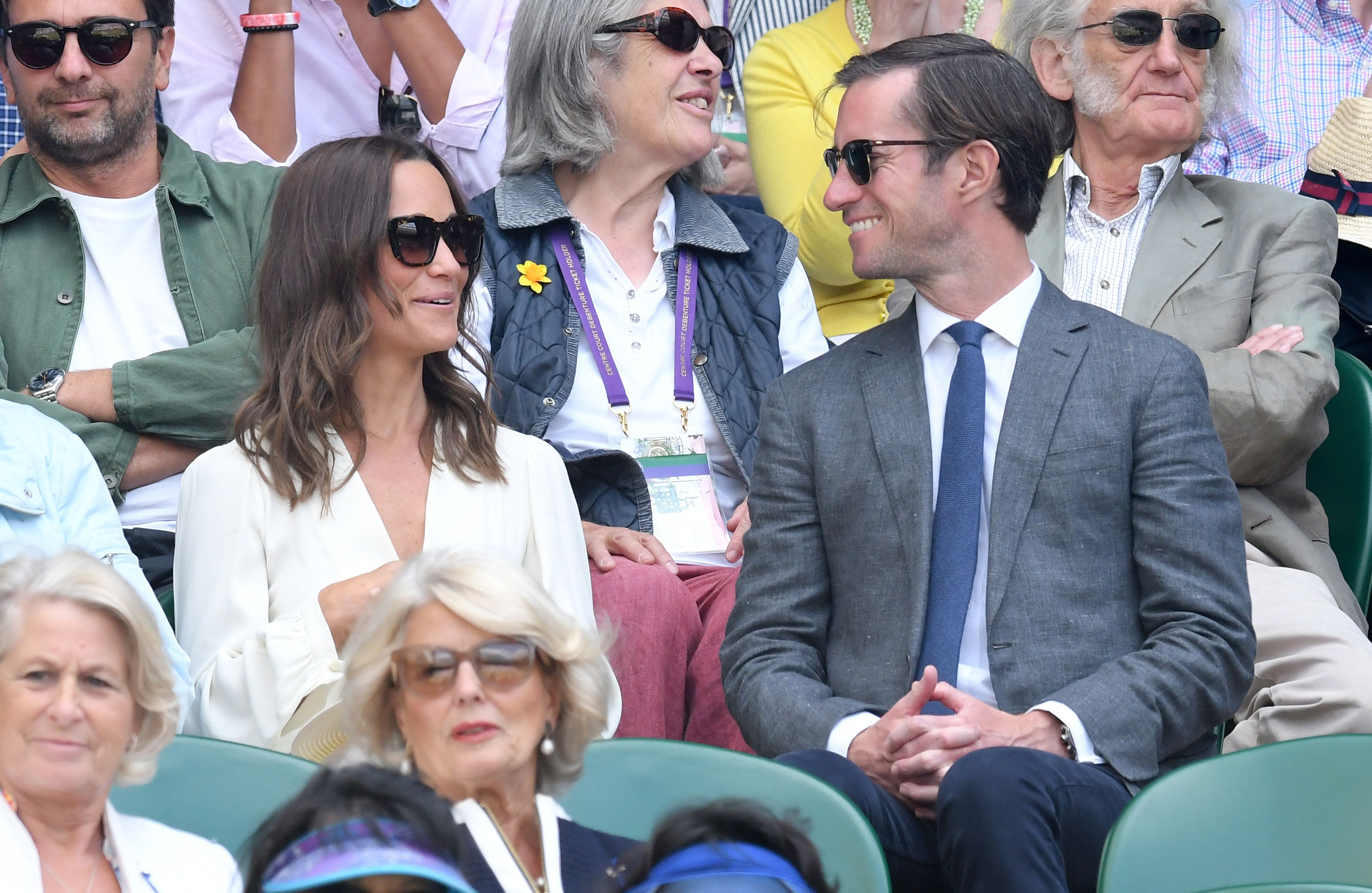 Pippa Middleton and James Matthews attend day 11 of Wimbledon 2017 on 14 July 2017 in London,