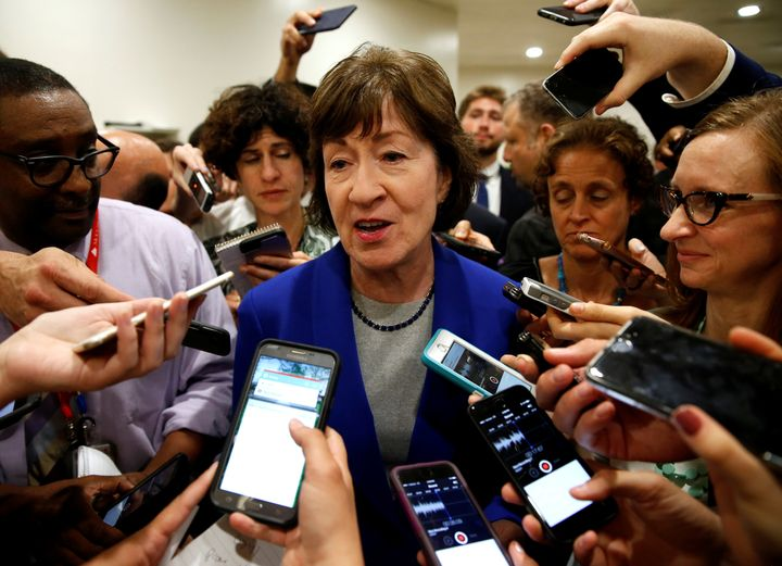 Sen. Susan Collins (R-Maine) is mobbed by reporters who know she's not a fan of her party's Obamacare repeal bills.