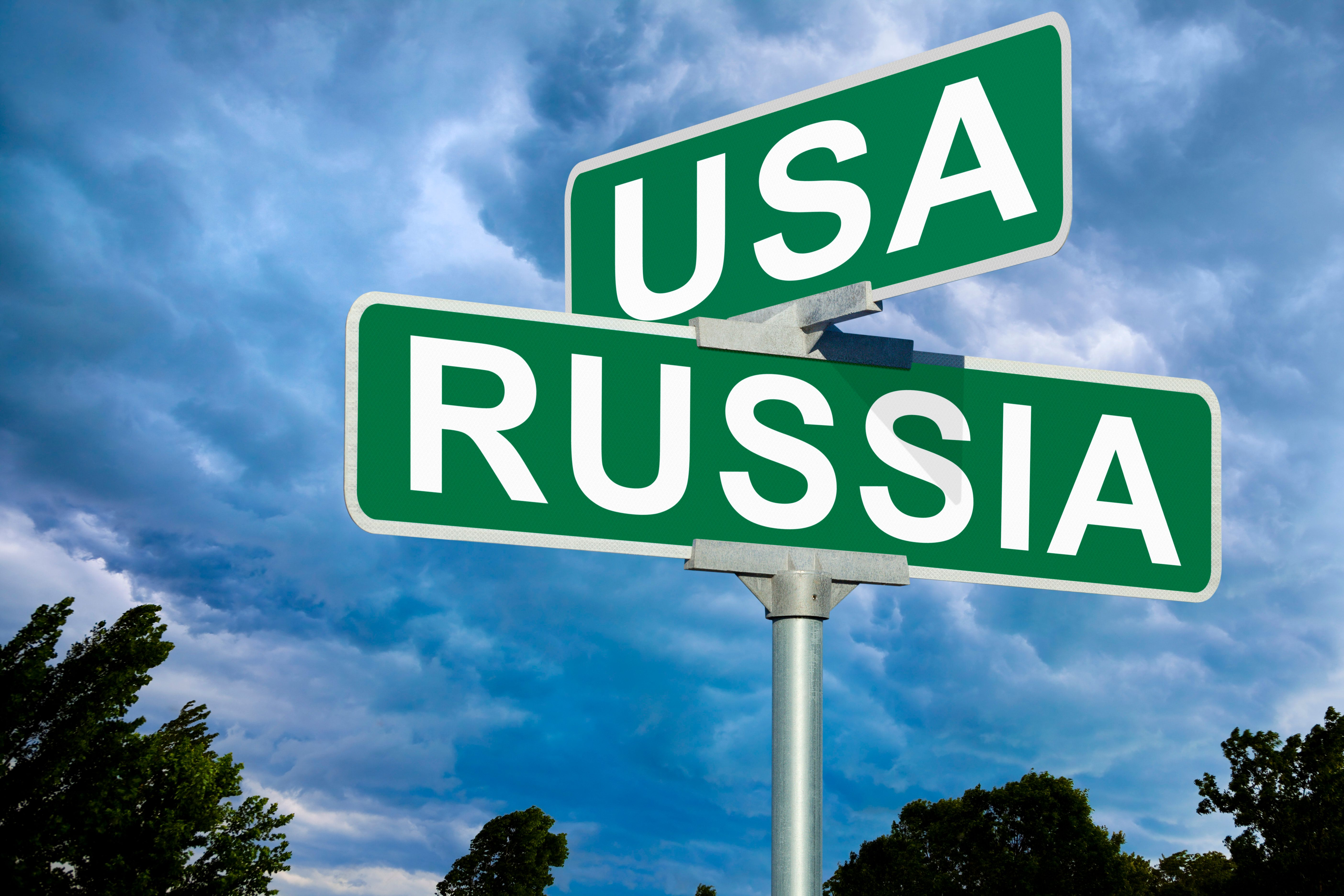 USA VS Russia Street Sign.  This image is useful when addressing the long running conflict, partnership, friendship, comparison, and rivalry between these two powerful countries.