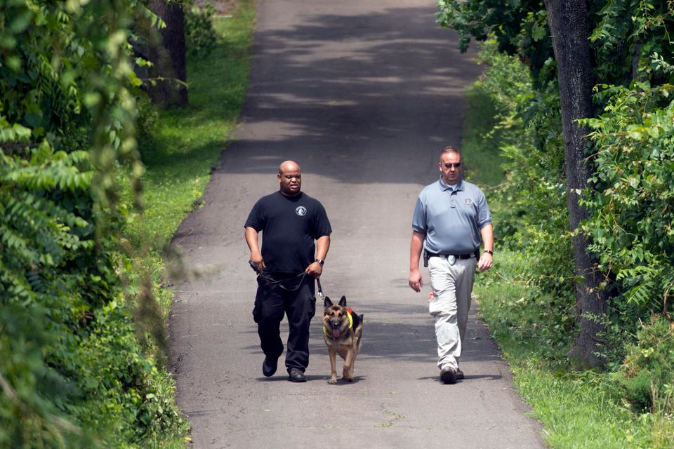Investigators walk a K-9 unit dog on the property in Bucks County off of Lower York Road in Solebury on Wednesday, July 12, 2