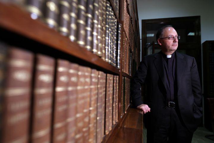 Jesuit Father Antonio Spadaro poses for a portrait session at Villa Malta, the 'Civilta' Cattolica' headquarters on March 28,