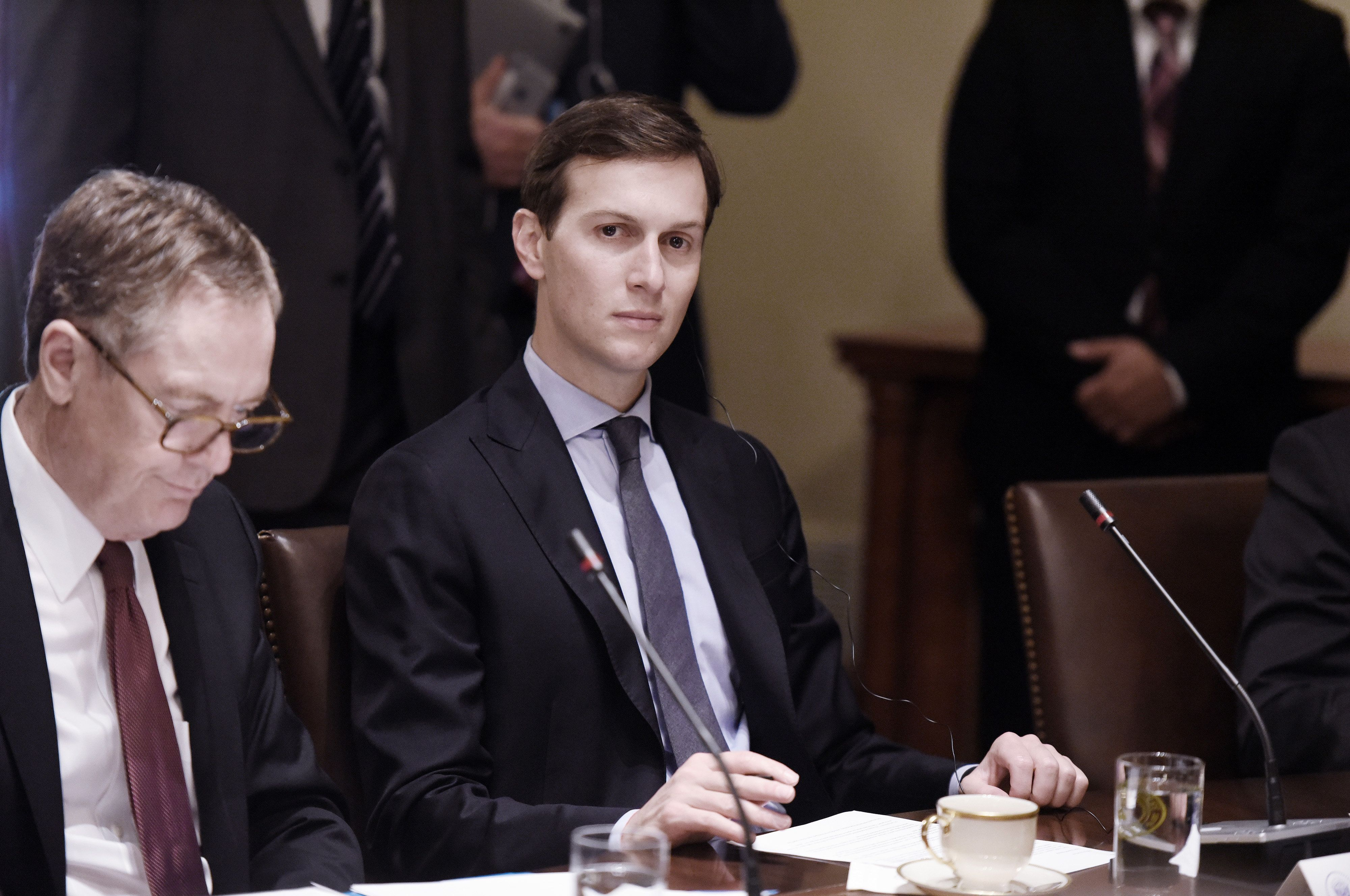 Jared Kushner, senior White House adviser, listens during a meeting with U.S. President Donald Trump and Moon Jae-in, South Korea's president, not pictured, in the Cabinet Room of the White House in Washington, D.C., U.S., on Friday, June 30, 2017. Trump wants South Korea to reduce barriers to U.S. auto exports to the country and is concerned by the 'enormous' amount of surplus steel the U.S. imports from the country, especially shipments that come via China, a White House administration official said this week. Photographer: Olivier Douliery/Pool via Bloomberg