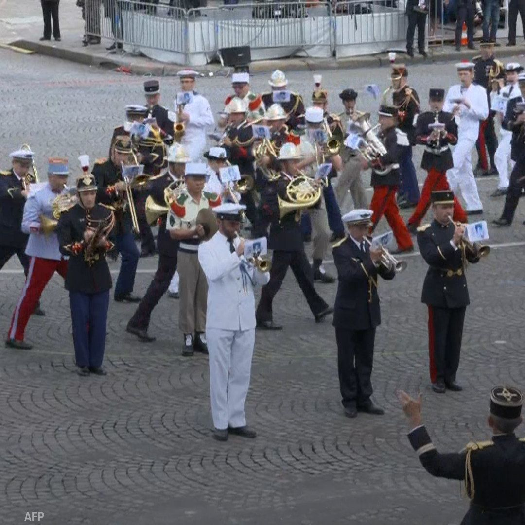 A French military band played Daft Punks Get Lucky for President Trump at the Bastille Day parade