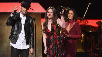 LOS ANGELES, CA - FEBRUARY 12:  Musicians Jesse Huerta (L) and Joy Huerta of Jesse & Joy accept the award for Latin Pop Album onstage at the Premiere Ceremony during the 59th GRAMMY Awards at Microsoft Theater on February 12, 2017 in Los Angeles, California.  (Photo by Jeff Kravitz/FilmMagic)