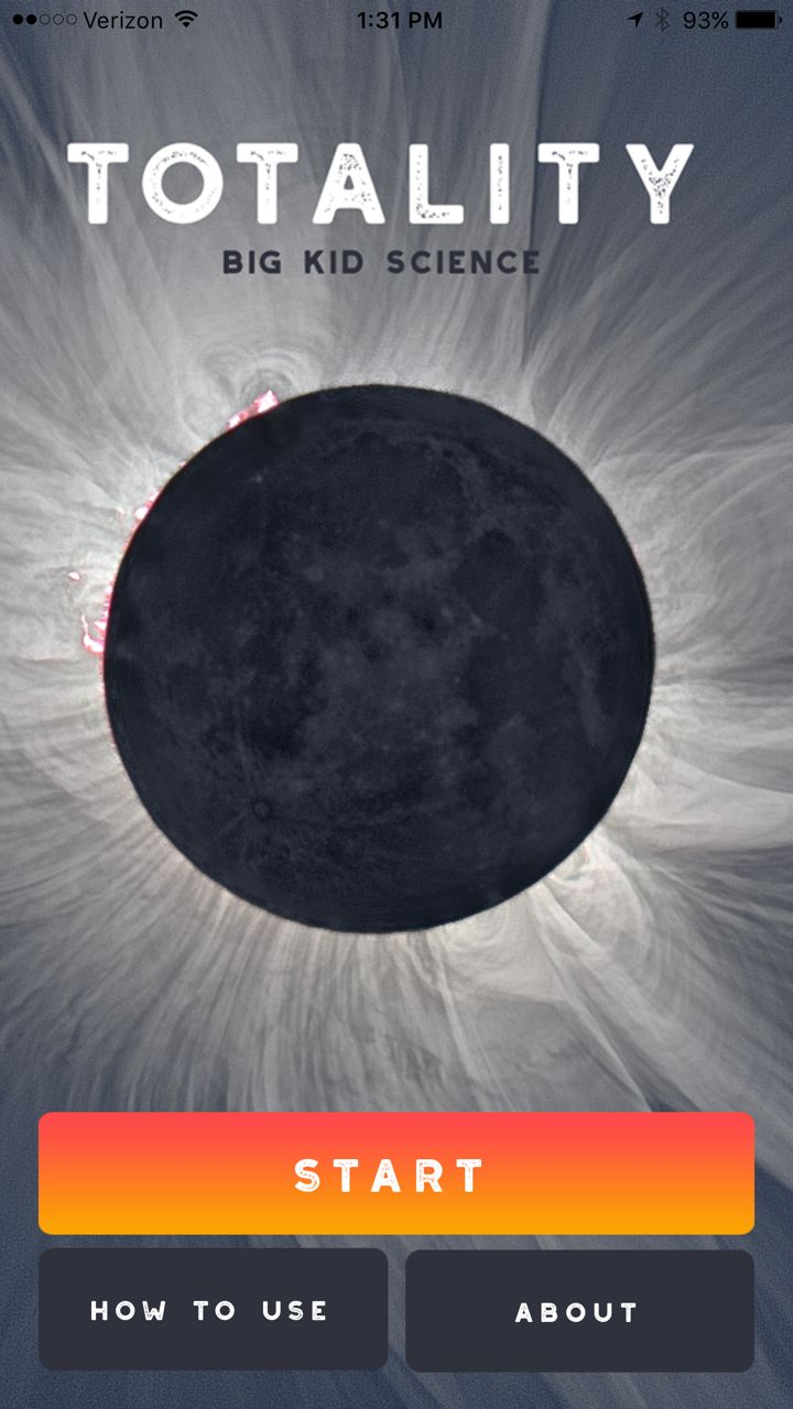 "Opening screen for <a rel=""nofollow"" href=""http://www.bigkidscience.com/eclipse/"" target=""_blank"">Totality by Big Kid Science"
