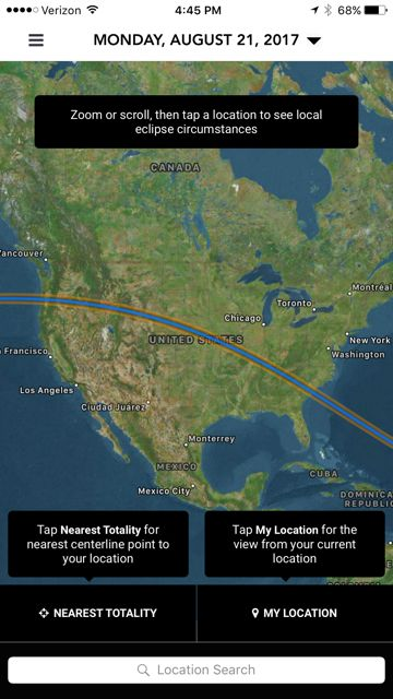 Main map in app. Use the triangle next to date at top to select maps for other future eclipses.