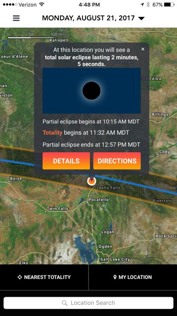 Select a location to see eclipse information. You can choose My Location to use your current GPS location, or Nearest Totalit