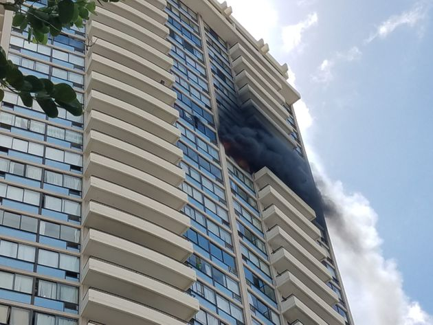 The Marco Polo building in Honolulu caught fire Friday