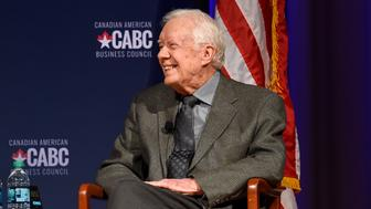 ATLANTA, GA - JUNE 15:  Former United States President Jimmy Carter speaks at 'The Board of Directors of the Canadian American Business Council Presents A Converation With Jimmy Carter and Joe Clark' at The Carter Center on June 15, 2017 in Atlanta, Georgia.  (Photo by Rick Diamond/Getty Images for Canadian American Business Council)
