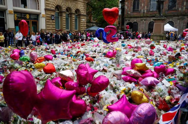 Flowers and tributes to the victims of the attack on Manchester