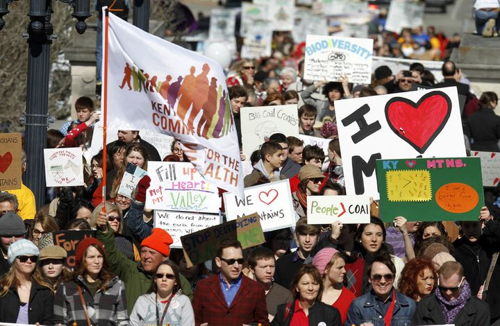 Demonstrators at a rally in Frankfort, Kentucky, Feb. 13, 2013, protest against mountaintop removal coal mining.