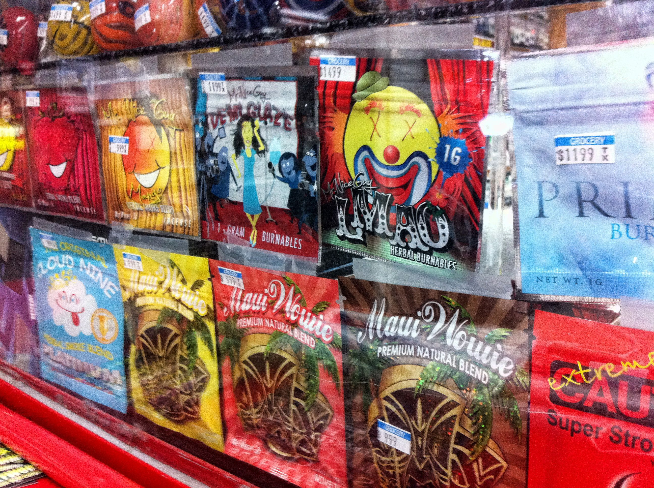 Synthetic marijuana, sold in colorful packages with names like Cloud Nine, Maui Wowie and Mr. Nice Guy, on display behind the