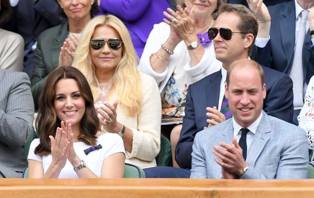 Duchess of Cambridge and Prince William, Duke of Cambridge attend day 13 of Wimbledon 2017 on July 16,...