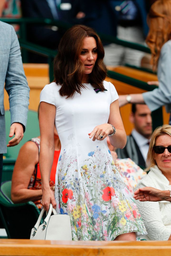 Duchess of Cambridge, takes her seat in the Royal box on Centre Court for the men's singles final match on the last day of the 2017 Wimbledon Championships at The All England Lawn Tennis Club in Wimbledon on July 16, 2017.