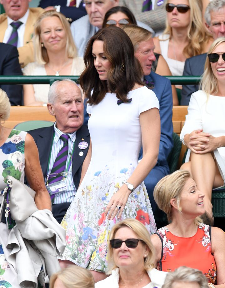 Duchess of Cambridge attends day 13 of Wimbledon 2017 on July 16, 2017 in London, England.
