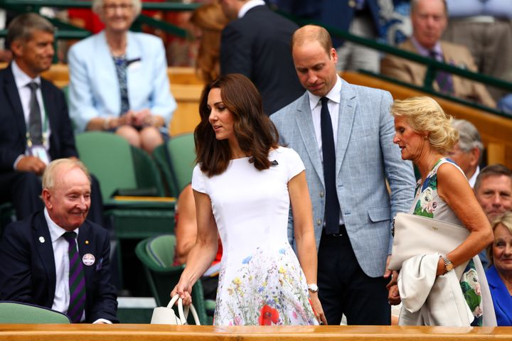 Prince William, Duke of Cambridge and Catherine, Duchess of Cambridge and welcomed by Gill Brook in the centre court royal box prior to the Gentlemen's Singles final between Roger Federer of Switzerland and Marin Cilic of Croatia on day thirteen of the Wimbledon Lawn Tennis Championships at the All England Lawn Tennis and Croquet Club at Wimbledon on July 16, 2017 in London, England.