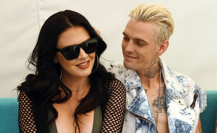 Madison Parker and Aaron Carter in Las Vegas in April.