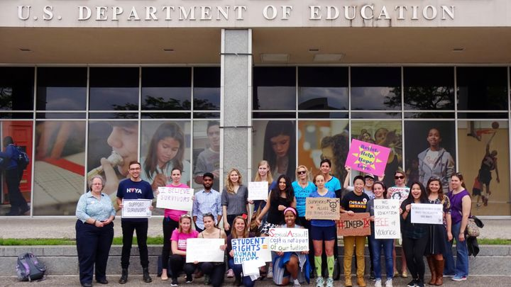 Campus sexual assault survivors and advocates rallied at the U.S. Department of Education headquarters in Washington, DC on A