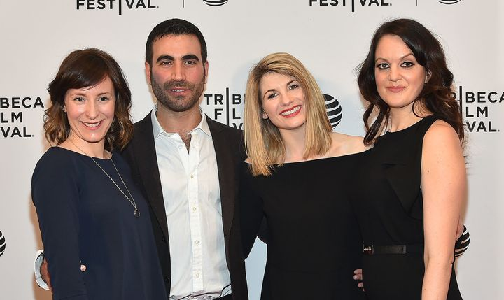 "Jodie Whittaker (second from right) with ""Adult Life Skills"" director Rachel Tunnard (left), and actors Brett Goldstein and R"