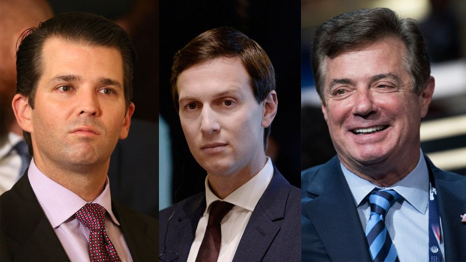 Donald Trump Jr., Jared Kushner, Paul Manafort (de izquierda a